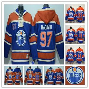 Дешевые мужчины винтажные оранжевые голубые эдмонтон-масленики hoody hockey 99 gretzky 97 connor mcdavid 14 Eberle 11 Междущий сшитые толстовки толстовки