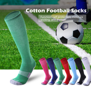 Взрослые компрессионные профессиональные спортивные футбольные носки цветная полоса Длинный Чулок колено высокий футбол волейбол дышащий детский носок
