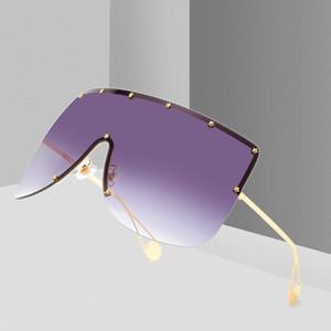Moda Donna Nuova oversize Piazza Occhiali da sole Uomini 2019 del progettista di marca Rimless Occhiali da sole donne antivento Visor Occhiali Eyewear UV400 W87