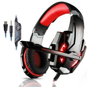 KOTION mikrofon LED Işık PC profesyonel Gamer ile HER G9000 Gaming Headset Derin Bas Stereo Bilgisayar Oyunu Kulaklık