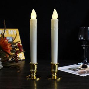Düğün Christma için Alev Led Konik Mum Çubuk Pillar Işık Dans Wick Hareketli LED Mumlar Sallanan Dip Wax Mum