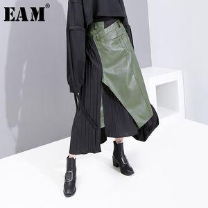 [EAM] High Elastic Waist Green Asymmetrical Pleated Temperament Half-body Skirt Women Fashion Tide New Spring Autumn 2020 1K731 Y200704