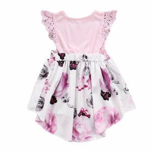 Family Sister Floral Matching Clothing Baby girls lace Floral Romper &Dress clothes set outfits