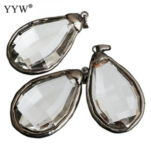 Clear Quartz Crystal Pendants with Brass Teardrop plumbum black color plated 32-34x55-57x15mm Hole:Approx 5x8mm Sold By PC
