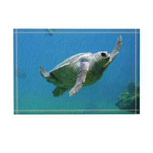 Animal Decor Lovely Turtle Swiming in Sea Tappeti da bagno Antiscivolo Zerbini da pavimento Pavimenti da esterno Tappetino da esterno