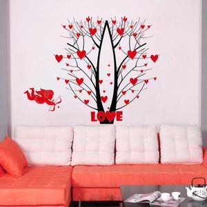 사랑 꽃 나무 숲의 deers 벽 예술 벽화 장식 큐피드의 화살표 사랑 벽지 장식 포스터 웨딩 룸 침실 장식 스티커