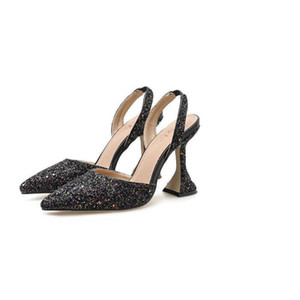 The new summer style is versatile with sequins pointed toes chunky heels and strappy sandals for weddings and banquets