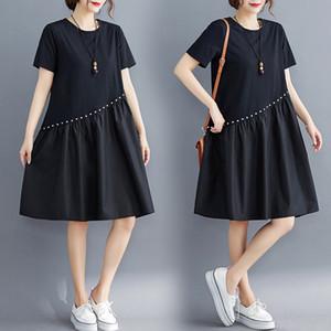 #0476 Summer Asymmetrical Spliced Ruffles T Shirt Dress Women Short Sleeves Cotton Rivet Black A-line Dress Loose Plus Size