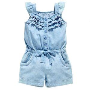 Sommer-Kleinkind-Mädchen-Kind-Blumen Overall ärmelSpielAnzug-Overall Playsuit Kleid Kleider Größe 2-6Y