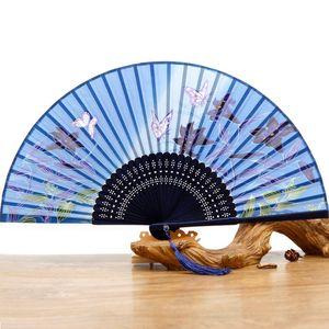 Estilo Chinês Folding Fan Para Acessórios nupcial pintura da borboleta Lotus Flower Hand Made Silk Para os fãs do Fan Wedding Party Em estoque Mão