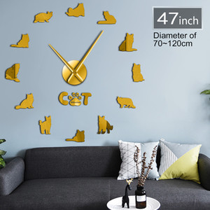 Lovely Cats Animal Clock Home Room Wall Stickers Large DIY Clock 3D Decoration Dynamic Cats Shape Wall Lover Gift