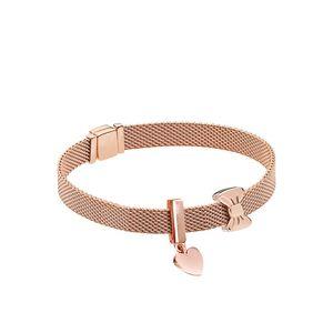 GChic Bracelet Glamour Rose Gold Bow Sweetheart Bracelet Set Fit Original Charm Fashion Women DIY Jewelry