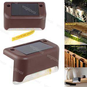 Luminaires solaires de jardin d'escalier chaud imperméable blanc 3000K ABS brun corps Panneaux solaires d'alimentation pour l'éclairage extérieur Cour escalier Guide étape EUB