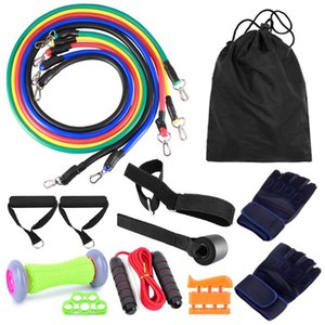 16pcs Fintess Resistance Bands Set Exercise Tube Bands Jump Rope Door Anchor Ankle Straps Cushioned Handles Fitness Gloves Foot