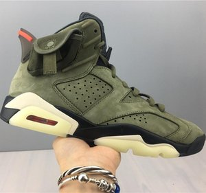 Travis Scott x Air 6 CN1084-200 6s Cactus Jack Men Basketball Sports Shoes Sneakers Suede Best Quality Trainers With Original Box