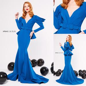 Prom Dress Blu Elegent Mermaid manica lunga Satin Sash Scollo a V Plus Size Party Dress sweep treno abiti de soirée