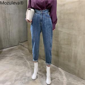 Mozuleva Femmes Wide Leg Jeans Pantalons Casual Printemps taille haute en vrac blanc Denim Jeans Boutons Femme Street Style Pantalons 2020