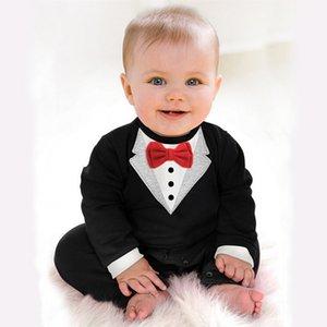 Bibihou 2018 Nouveau-né Bébé Barboteuses Vêtements Enfants Garçons Vêtements Cravate Gentleman Bow Loisirs Toddler One-pieces Jumpsuit Bebe Y18120801