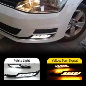 2PCS LED diurnas Luz Para VW Volkswagen Golf 7 2013 cover 2014 2015 2016 Acessórios Car ABS 12V DRL Fog Lamp