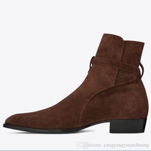 Yüksek Üst Süet Hakiki Deri Harry wyatt charm Çizmeler kama slp moda erkekler klasik siyah kırmızı kahverengi ayak bileği kayışı denim çizmeler