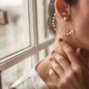 Boucles d'oreilles perle irrégulière et Exagération grand ventilateur boucles d'oreilles en forme de simples Boucles d'oreilles le meilleur cadeau pour les femmes