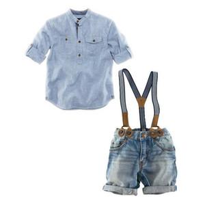 Rabatt Sommer Baby Jungen Denim Sets Kleidung Blau Gestreifter Casual Hemden + Suspender Shorts Jeans Hosen 2PC Anzüge Kostüm Kinder Kleidung