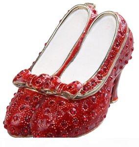 magicien d'oz cadeaux Ruby Slipper bejewelled boîte or Fabergé boîte métal ornement métal alliage étain cadeau boîte décoration vintage babiole bijoux