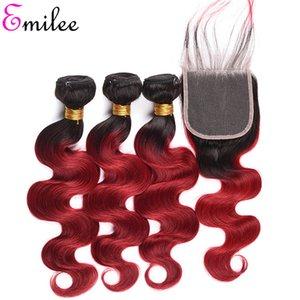 Emilee 1B BOGUE rouge Bundles cheveux avec fermeture péruvienne vague de corps Ombre Rouge Cheveux Weave Bundles avec fermeture 12 pouces