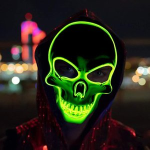 Halloween Skull Mask LED Glow spaventoso EL-Wire Mask costume cosplay Light Up Festival Articoli per feste Maschera Mardi Gras