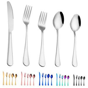 5 pcs / set talheres conjuntos de 6 cores jogo de jantar talheres garfo faca colher colher de chá conjuntos elegantes talheres de cozinha acessórios