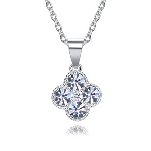 wholesale Crystals from Swarovski Shining Clover Necklaces Pendants Chic Wisiorek Fashion Pendants Metal Bijoux Gifts for Women