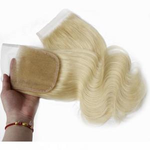 K Remy Cabelo Liso Virgin Top Encerramento da onda do corpo humano Closures cabelo gratuito Parte 4x4 brasileira Swiss Lace Encerramento Piece # 613 Bleached Kn