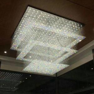 현대 크리스탈 샹들리에 폭포 호텔 로비 foyer 조명 AC110V220V 광장 샹들리에 크리스탈 천장 조명