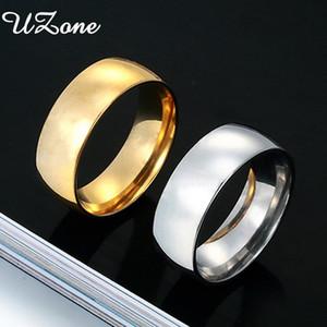 Simples UZone 8 milímetros de aço inoxidável anel para homens mulheres anéis de noivado Drop Shipping