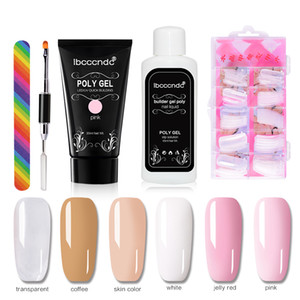 IBCCCNDC Set de barniz de gel de gel de esmalte de uñas Kit de poliagel Polygel Kit Quick Builder Extension Gel Hard Gel Camuflaje UV LED LED Cepillo Clavo TI