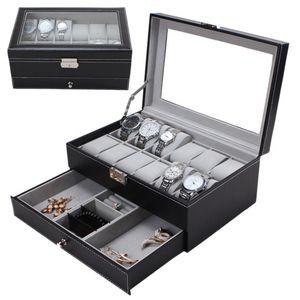 Professionnel 12 Grids Machines à sous Montres Boîte de rangement PU bicouches montre en cuir Bijoux Porte-Case Black Brown Cercueil Box 2019
