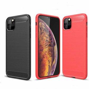 iphone11 souple mince armure pour l'iphone 11 Pro Max Case Texture fibre de carbone brossé Housse en silicone pour iPhone 11 Fundas Pro