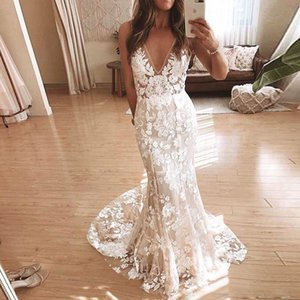 Moda Ilusão Floral Rendas Vestidos de Casamento V Neck Sem Mangas Boho Vestidos de Casamento Varredura Trem Praia Vestido De Noiva robe de mariee