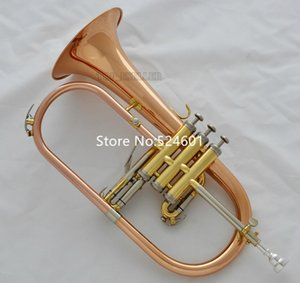 Hot Selling Bb Flugelhorn Rose Brass Lacquer metal Musical instrument Professional with Mouthpiece Case Free Shipping
