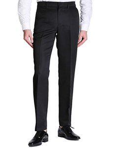 Men Regular Fit Flat Front Casual Pants TMen's Formal Smart Casual Work Trousers Fit Straight Pants PocketGreat for Formal Casual occasion