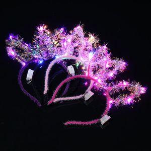 골드 와이어 LED 토끼 귀 헤드 밴드 머리 장식 빛나는 고양이 귀 머리띠는 명승지 뜨거운 판매 빛 장난감 포장 마차