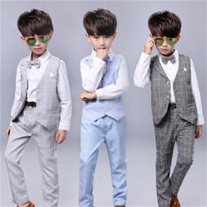New 3Pcs Boys Spring Formal Wedding Vest Suit Top Quality Gentle Boys Polka Lattice Suit Children Wedding Suits