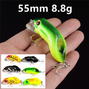 1pcs 6 Farbe 55 mm 8,8 g Frosch Angelhaken Angelhaken 6 # Haken Kunststoff Hard-Köder-Köder Pesca Angelzubehör WE_18 Tackle