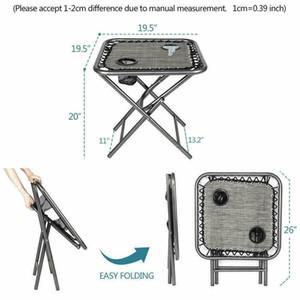 3 PCS Sıfır Yerçekimi Sandalye Avlu Chaise Katlanır Lounge Masa Sandalye yatar ayarlar