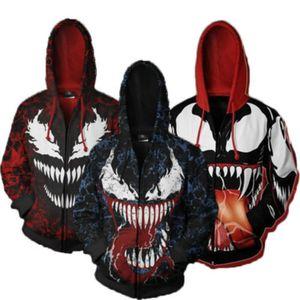 New'in süper kahraman Venom Kostümler Venom Symbiote Cosplay 3D Baskılı Sweatshirt Erkek moda Karikatür Ceketler kapüşonlu zip