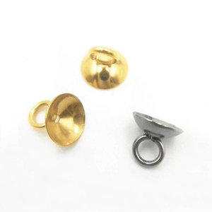 Stainless Steel Pendant Connector Bail Cup Smooth Pearl Beads Caps Round Silver Gold Color Findings DIY Jewelry Making Wholesale