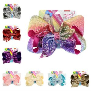 8 Inch Girls Sequins Barrettes Cute Colorful Hairpin Bowknot Glitter Hair Clips Kids Children Hairclip Headress Hair Accessories New D6410
