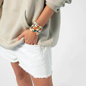 보헤미아 스타일 수제 에나멜 레인보우 타일 팔찌 다채로운 페인트 금속 팔목 팔찌 스태킹 합금 펄스 발생기