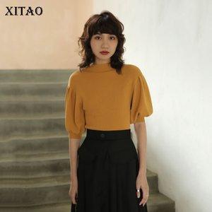 Xitao Lanterna Vintage mezza manica collo alto Maglione francese stile elegante solido di colore Pullover Maglieria da donne DMY4033 Moda