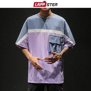 LAPPSTER uomini giapponesi Streetwear maglietta 2020 Colore blcok Harajuku tasche oversize Hop Shirt T Shirt coreana Hip Plus Size MX200509